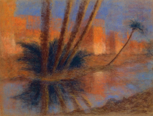 Lucien Levi-Durme. Palm trees outside the walls of Marrakesh.