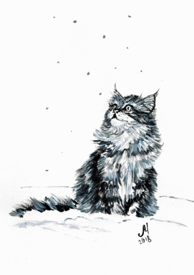 Marina Bocharova. Kitten and snow