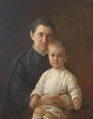Nikolai Nikolaevich Ge. Portrait of Evdokiya Nikolaevna Kostyczewii son Sergey Pavlovich