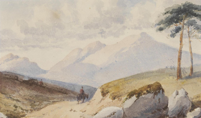 John Ruskin. Mountain landscape with two pines