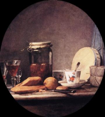 Jean Baptiste Simeon Chardin. Bank with apricots (oval)