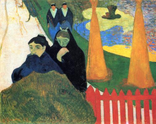 Paul Gauguin. Spinsters wander through the winter garden in Arles
