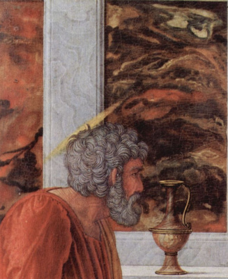 Andrea Mantegna. The altar of the Palace chapel of the Duke of Mantua, scene: the Circumcision of Christ, detail