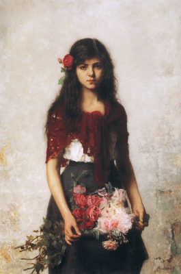 Alexey Alekseevich Kharlamov. Portrait of a girl with a red shawl.