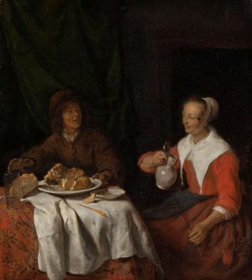 Gabrielle Metsu. Man and woman at table
