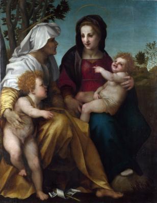 Андреа дель Сарто. Мадонна с младенцем, святая Елизавета и Крестителя