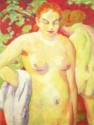 Franz Marc. Nude on a scarlet background