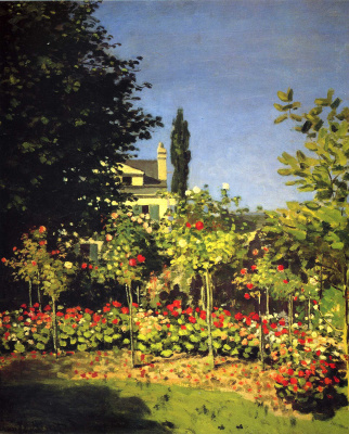 Claude Monet. Flowering garden at Sainte-Adresse
