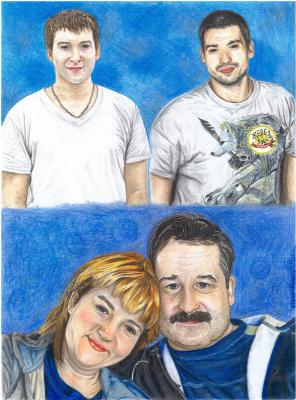 Ирина Владимировна Хазэ. Family collage portrait with color pencils