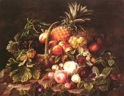 Корзина фруктов и розы