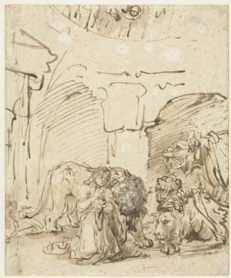 Rembrandt Harmenszoon van Rijn. Daniel in the lion's den
