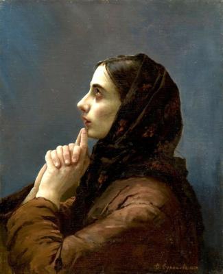 Vasily Ivanovich Surikov. Young woman in prayer