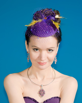 "Natalia Vladimirovna Solntseva. Hat-veil ""Gold and Violet"""