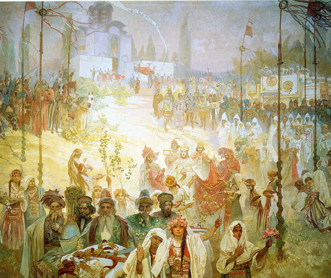 Alfons Mucha. The coronation of the Serbian Tsar Stefan Uros IV Dusan as Emperor of the Eastern Roman Empire