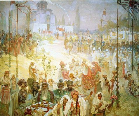 Alphonse Mucha. The coronation of the Serbian Tsar Stefan Uros IV Dusan as Emperor of the Eastern Roman Empire