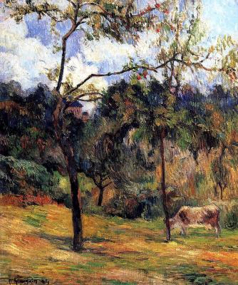 Paul Gauguin. Normandy landscape: cow in a meadow