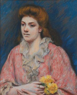 Federico Zandomenegi. A woman in a house dress holding flowers