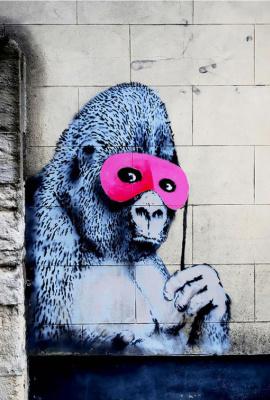 Banksy. Gorilla in a pink mask