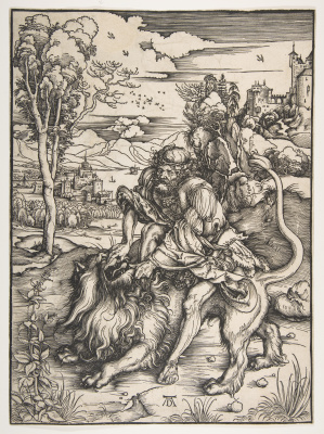 Albrecht Durer. Samson tearing the lion's mouth