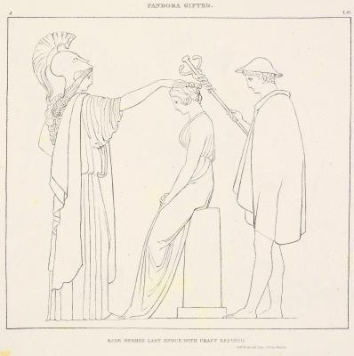 """Уильям Блейк. Иллюстрации к поэме Гесиода """"Труды и дни. Теогония"""". Лист 3. Одаривание Пандоры"""
