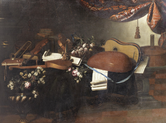 Bartolomeo bettera. Still life with musical instruments, fruits and flowers