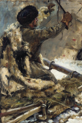 """Vasily Ivanovich Surikov. Study of a Cossack for the painting """"the Conquest of Siberia by Yermak"""""""