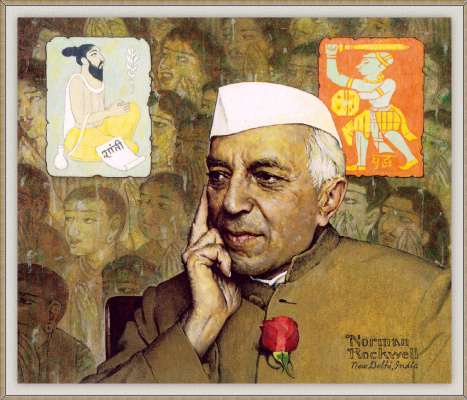 "Norman Rockwell. The Portrait Of Nehru. Cover of ""The Saturday Evening Post"" (January 19, 1963)"