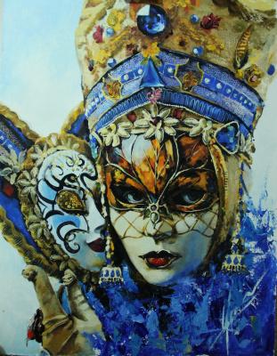 Olga Shatskaya. Venetian jester with a mask