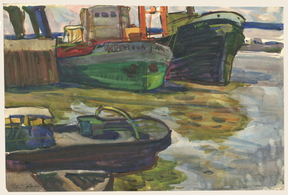 Alexandrovich Rudolf Pavlov. Series of watercolors Astrakhan, No. 3. Pier with boats.