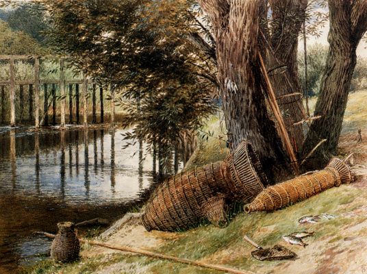 Корзины на берегу реки