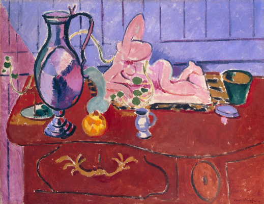 Henri Matisse. Pink statuette and pitcher on a red chest of drawers