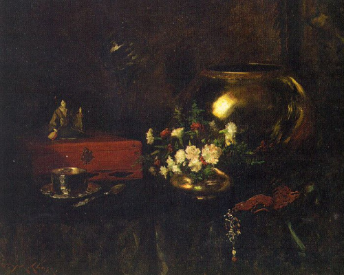 William Merritt Chase. Flowers and brass vase