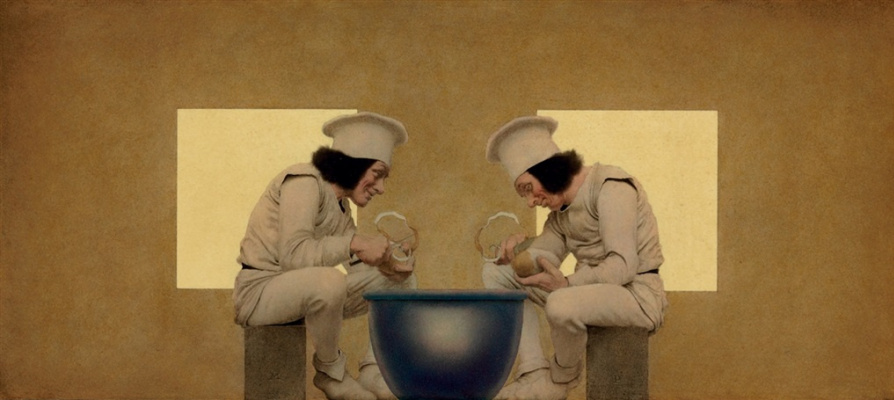 Maxfield Parrish. Two chefs are cleaning potatoes