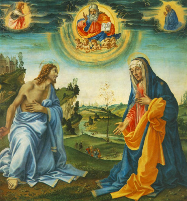 Filippino Lippi. The speech of Christ and Mary
