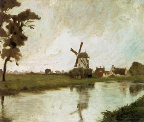 Диего Мария Ривера. Пейзаж с мельницей