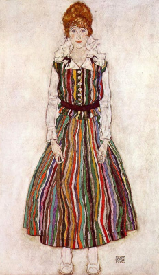 Egon Schiele. Portrait of Edith Schiele in a striped dress