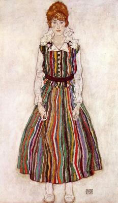 Эгон Шиле. Портрет Эдит Шиле в полосатом платье