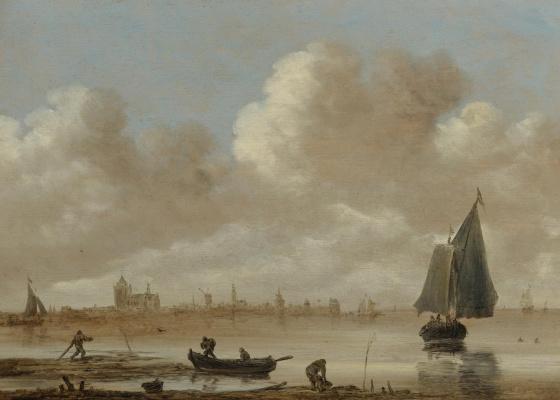 Ян ван Гойен. Рыбацкие лодки и город на горизонте