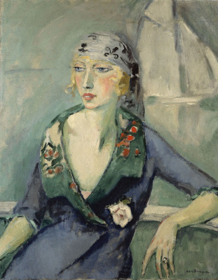 Kees Van Dongen. A woman in a scarf