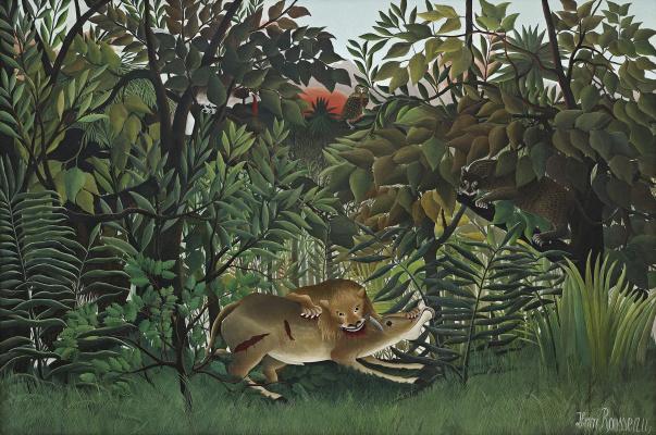 Henri Rousseau. A hungry lion pounces on the antelope