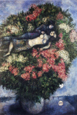 Marc Chagall. Lovers in the lilacs