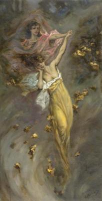 Вильгельм Александрович Котарбинский. Две девушки в золотом и розовом платьях