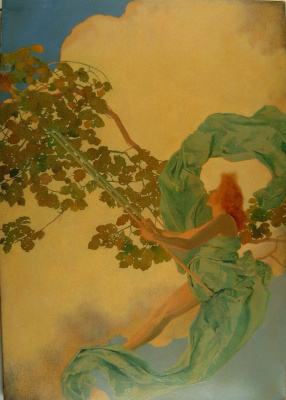 Maxfield Parrish. Girl on the swing