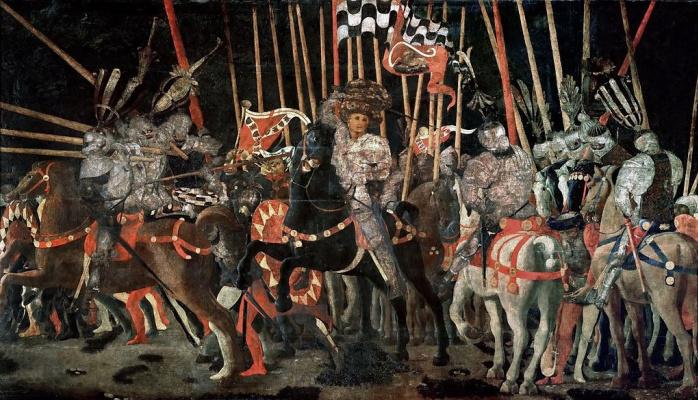 Paolo Uccello. The battle of San Romano. Attack of Micheletto da Cotignola