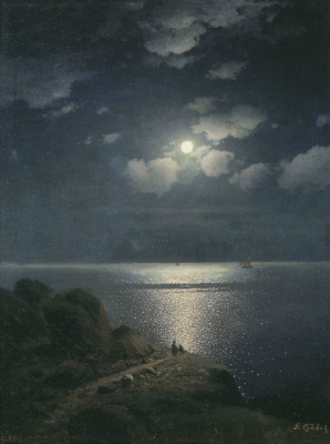 Rufin Gavriilovich Sudkovsky. Cliff in the moonlight
