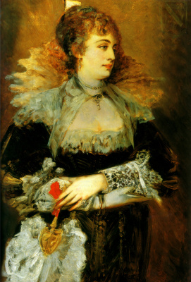 Hans Makart. Lady with a fan
