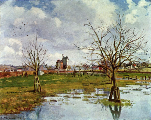 Camille Pissarro. Landscape with flooded fields