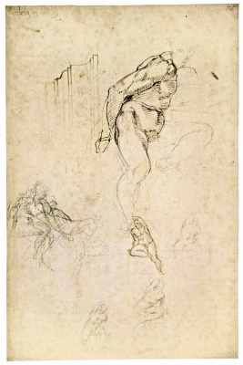 Michelangelo Buonarroti. Sketch of Nude figure