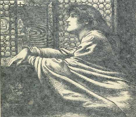 """Dante Gabriel Rossetti. """"Watch everyone come and go..."""". Illustration to the collection of Christina Rossetti's """"the making of the Prince and other poems"""""""