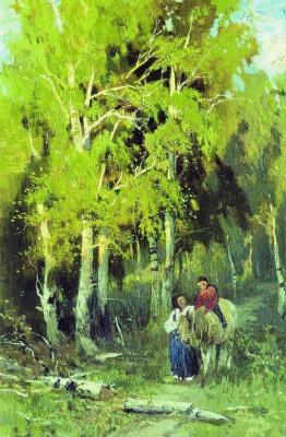 Fedor Alexandrovich Vasilyev. Road in a birch forest